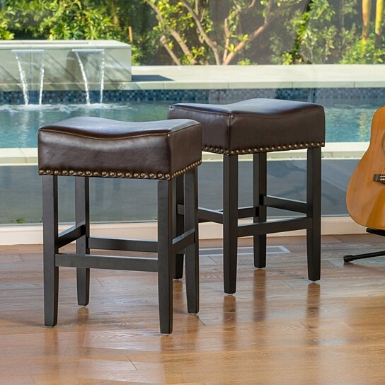 Prime Chantal 26 Inch Brown Backless Leather Counter Stool Set Of 2 Gmtry Best Dining Table And Chair Ideas Images Gmtryco