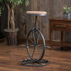 Charles Bicycle Wheel Adjustable Bar Stool