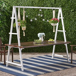 "Chloe Outdoor Acacia Wood 88.5"" Dining Table with Iron Plant Hanger"