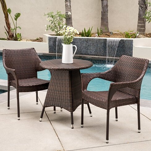 Buy clayton outdoor 3pc multibrown wicker bistro set by for Garden furniture set deals