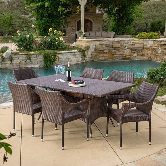 Buy clayton outdoor 7pc multibrown wicker dining set by for Great deals on outdoor furniture