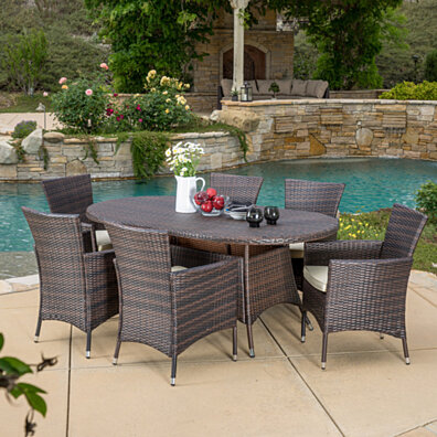 Clementine Outdoor 7pc Multibrown Wicker Long Dining Set