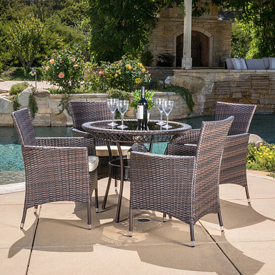 Buy Clementine Outdoor Multibrown Wicker 5pc Dining Set by GDFStudio on OpenSky