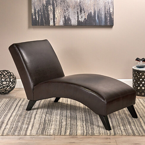 Beau Cleveland Brown Leather Chaise Lounge Chair