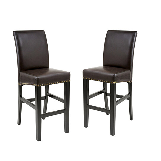 Buy Clifton 30 Inch Brown Leather Bar Stool Set Of 2 By Gdfstudio