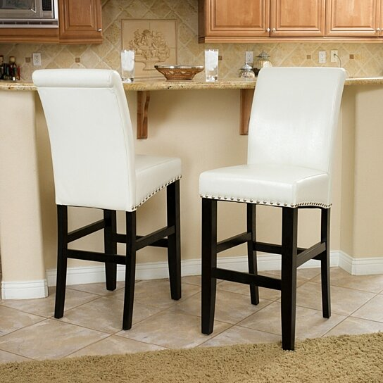 Admirable Clifton 30 Inch Ivory Leather Bar Stool Set Of 2 Evergreenethics Interior Chair Design Evergreenethicsorg