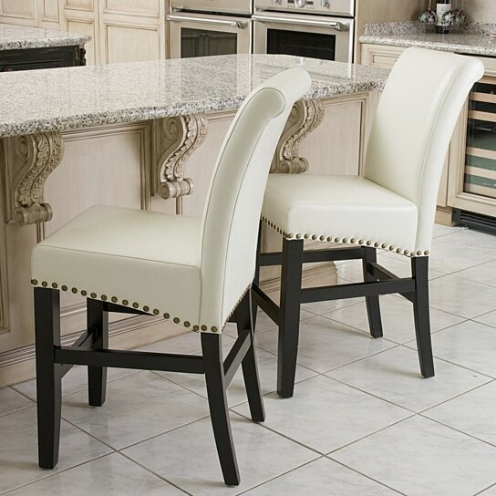 Buy Clifton 25 Inch Ivory Leather Counter Stool Set Of 2 By