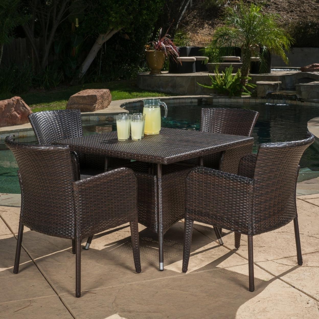Clinton Outdoor 5-piece Brown Wicker Dining Set