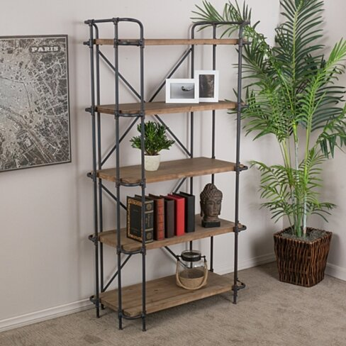 Mercia Industrial 5 Shelf Firwood Bookcase