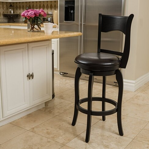 Cody Espresso Leather Swivel Barstool