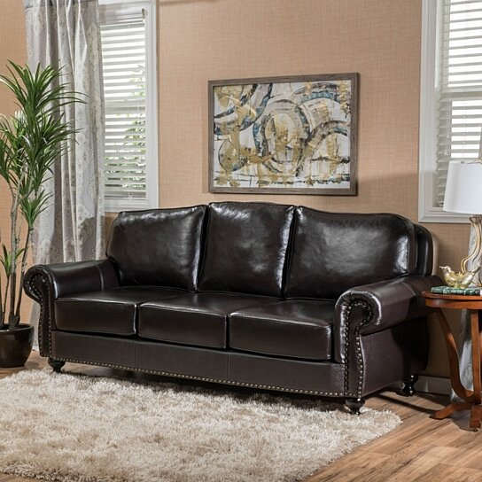 Corina Stud Accented Dark Brown Leather Sofa