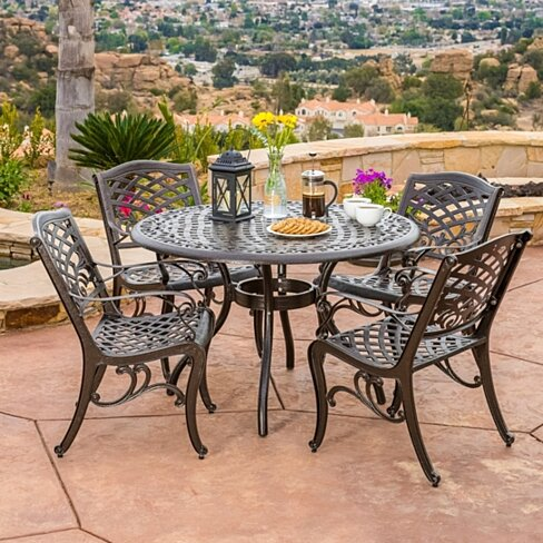 Covington Outdoor 5pcs Cast Aluminum Dining Set