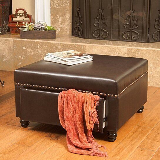 Buy Cressida Square Brown Leather Storage Ottoman By