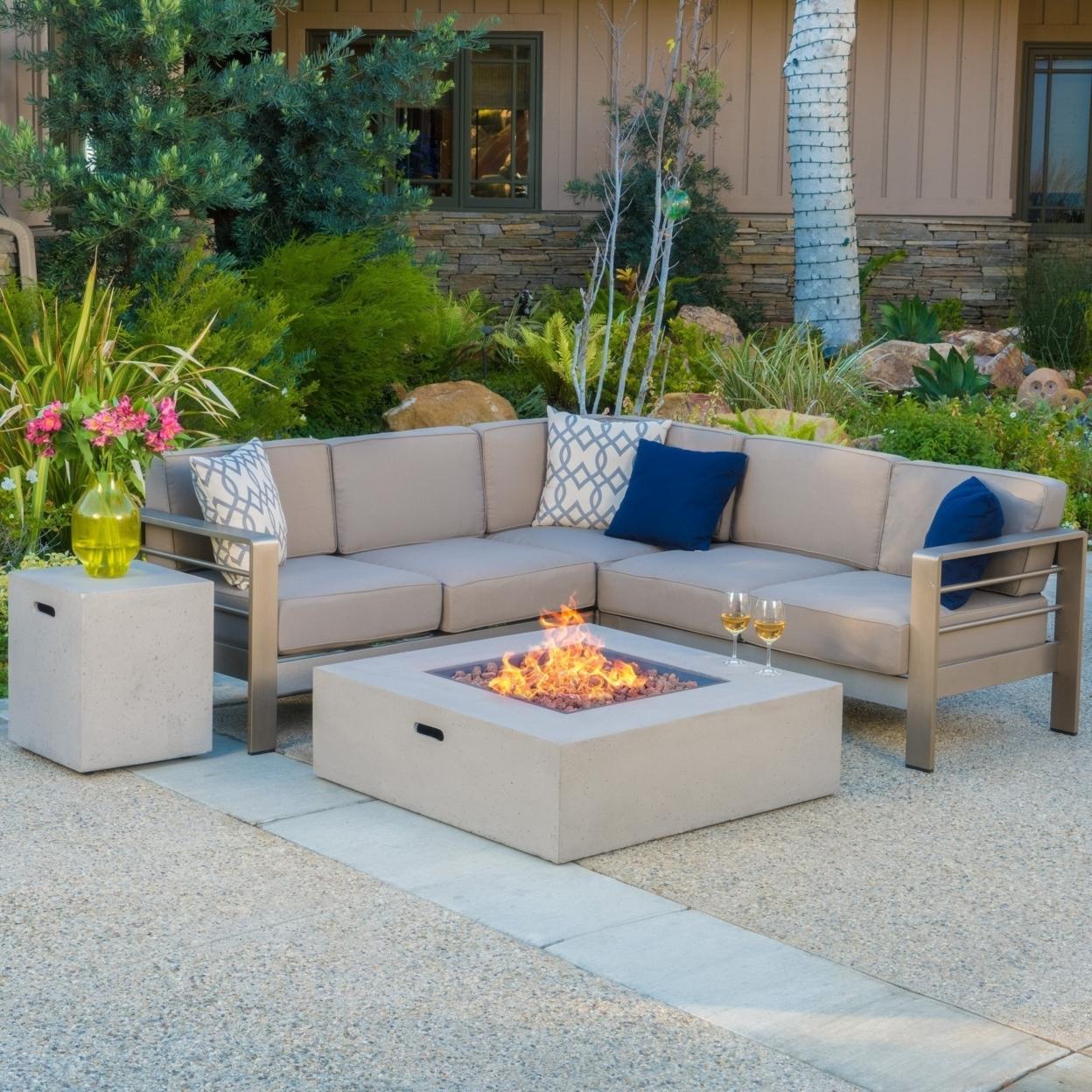 Crested-bay V-shape Outdoor Fire Table Sofa Set Light Gray