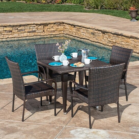 Buy dalmi contemporary outdoor 5pc brown wicker dining set for Great deals on outdoor furniture