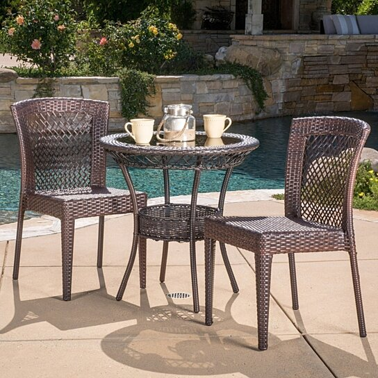 Outdoor Patio Furniture 7pc Multibrown All Weather Wicker: Buy Dana Outdoor Multibrown Wicker 3pc Bistro Set By