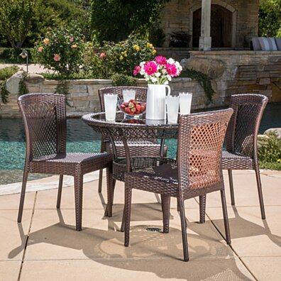 Dana Outdoor Multibrown Wicker 5pc Dining Set