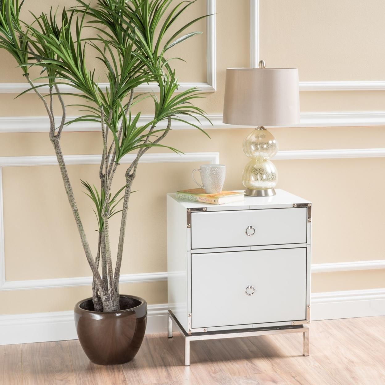 Danea White Glass 2 Drawer Bedside Table 5936d4e2c98fc47d140ddde3