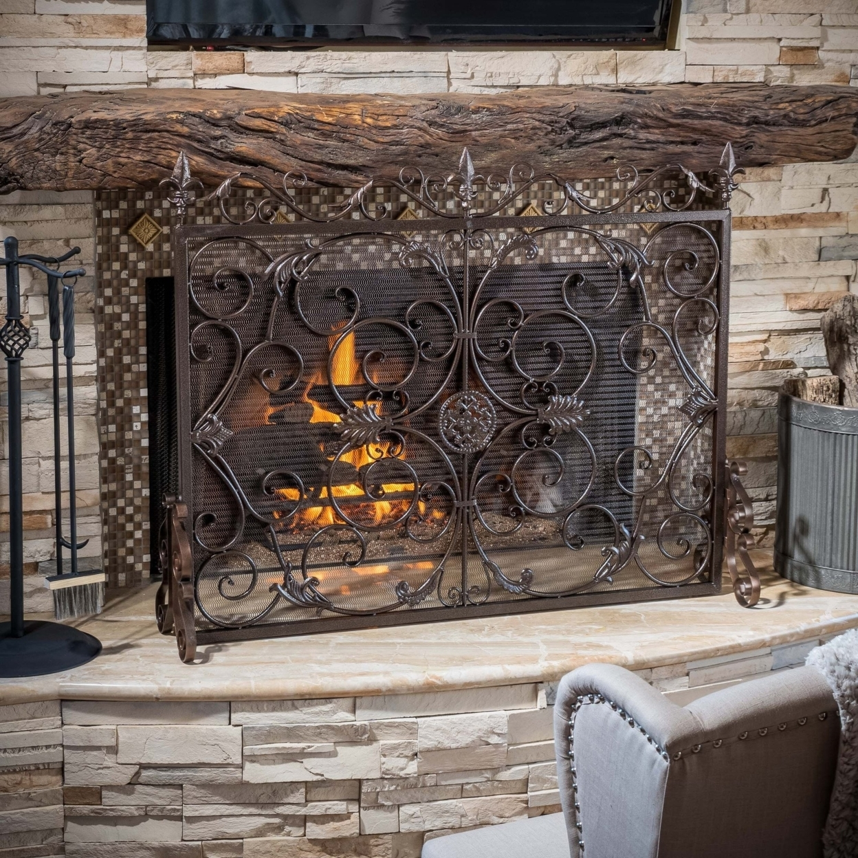Darcie Copper Brown Finish Wrought Iron Fireplace Screen