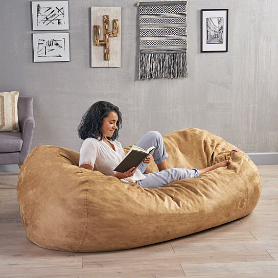 Groovy David Tan Faux Suede 8 Foot Lounger Bean Bag Squirreltailoven Fun Painted Chair Ideas Images Squirreltailovenorg