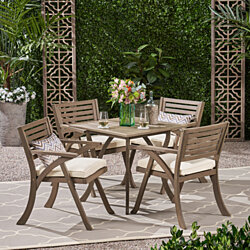 Deandra Outdoor 4-Seater Acacia Wood Dining Set with Square Table