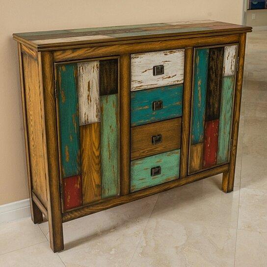 Buy Delaney Antique Multicolor Distressed Wood Storage Cabinet by