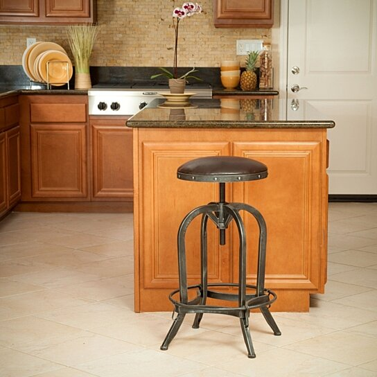buy dempsey brown convex swivel adjustable bar stool by gdfstudio on dot u0026 bo