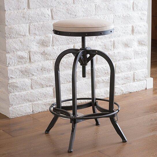 Awesome Brixton Industrial Design Adjustable Swivel Iron Bar Stool In Beige Linen Beatyapartments Chair Design Images Beatyapartmentscom