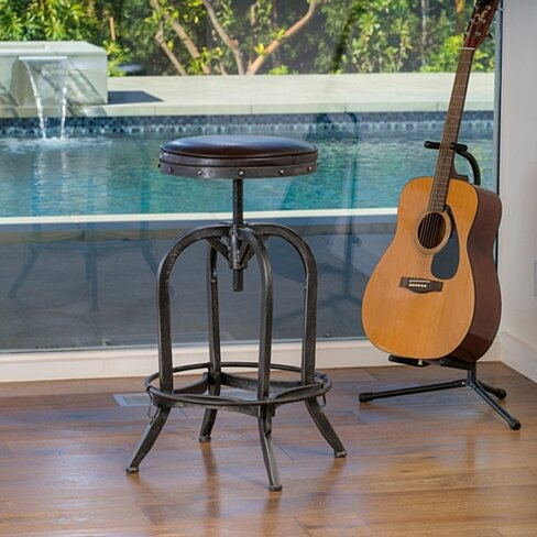 Dempsey Padded Brown Leather Iron Swivel Bar Stool