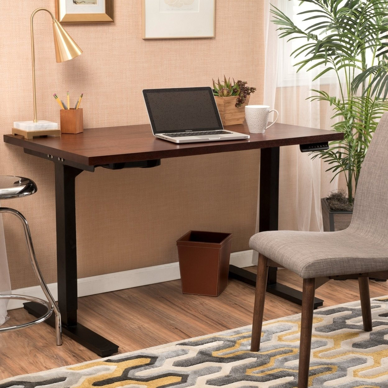 "Denise Austin Home 55"" Mahogany Veneer Desk with Black Duel Powered Adjustable Height Base"