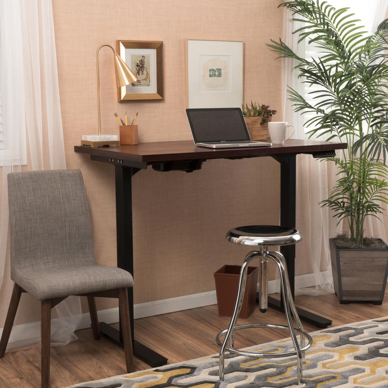 "Denise Austin Home 58"" Mahogany Veneer Desk with Adjustable Height Base"