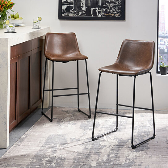 Buy 30 Inch Central Vintage Brown Bar Stool Set Of 2 By Gdfstudio