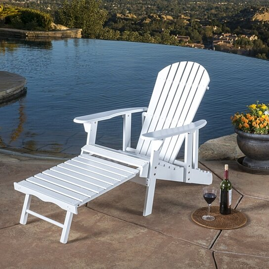 Buy Katherine Outdoor Reclining Wood Adirondack Chair With