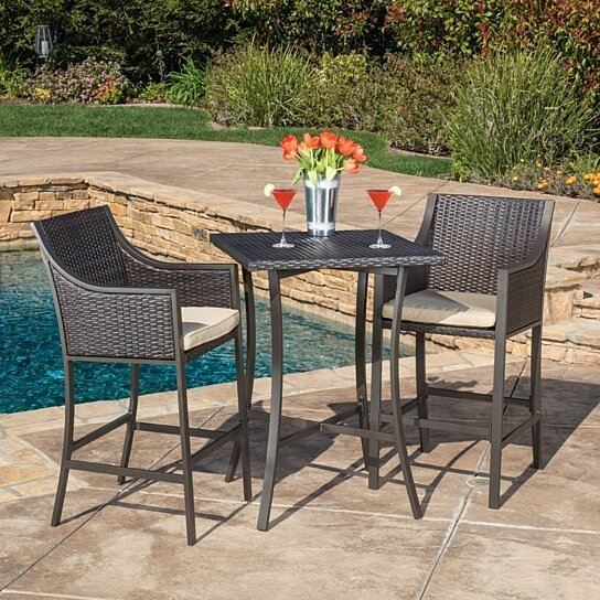 Buy denise austin home pyra 3 pc multi brown outdoor bar for Outdoor furniture austin