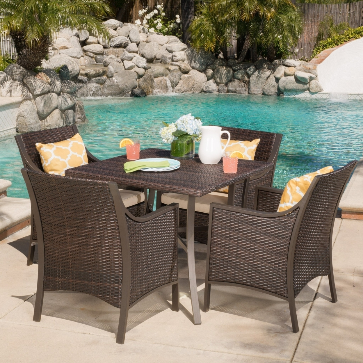 Denise Austin Home Pyra Outdoor 5-piece Aluminum Dining Set With Cushions
