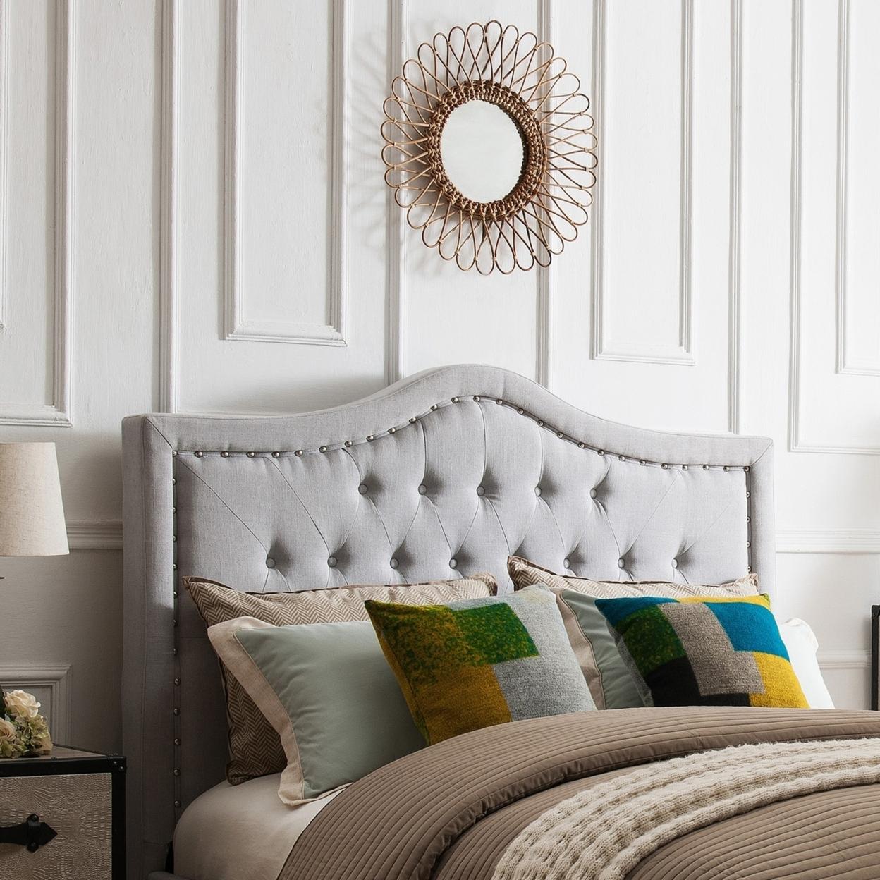 Denise Austin Home Ronan King/cal King Upholstered Tufted Fabric Headboard