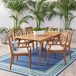Dione Outdoor 7-Piece Acacia Wood Dining Set