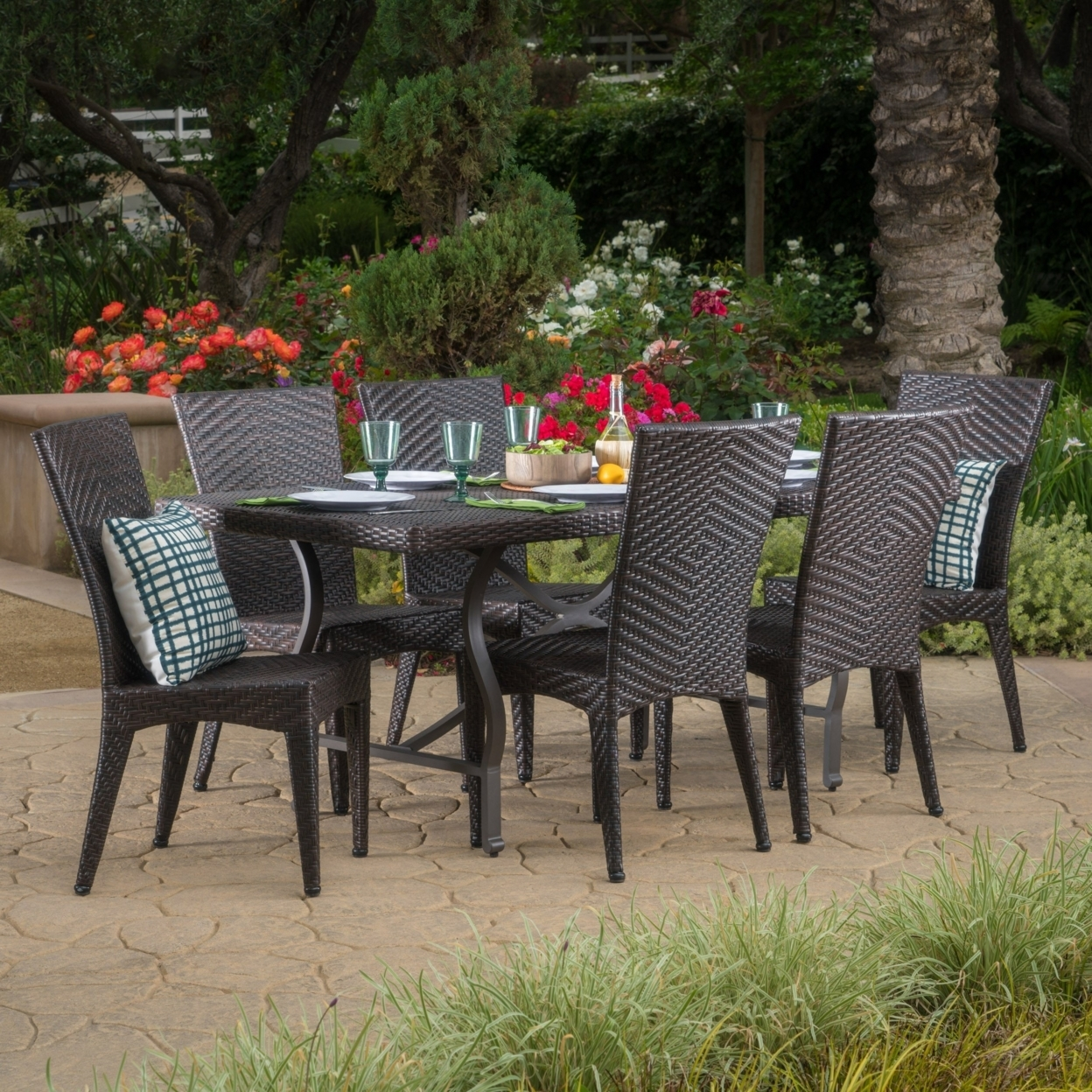 Dixie Outdoor 7 Piece Multibrown Wicker Dining Set