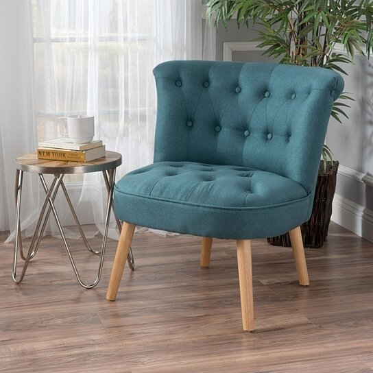 Buy donna plush modern tufted accent chair by gdfstudio on for Plush living room furniture