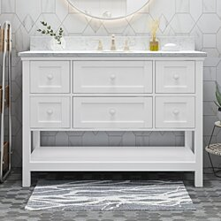 "Douvier Contemporary 48"" Wood Single Sink Bathroom Vanity with Marble Counter Top with Carrara White Marble"