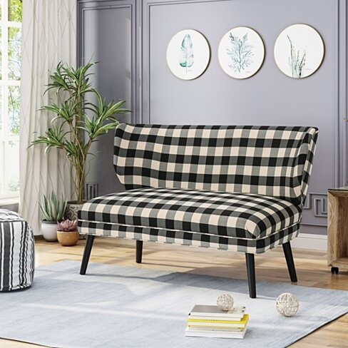 Dumont Modern Farmhouse Fabric Settee