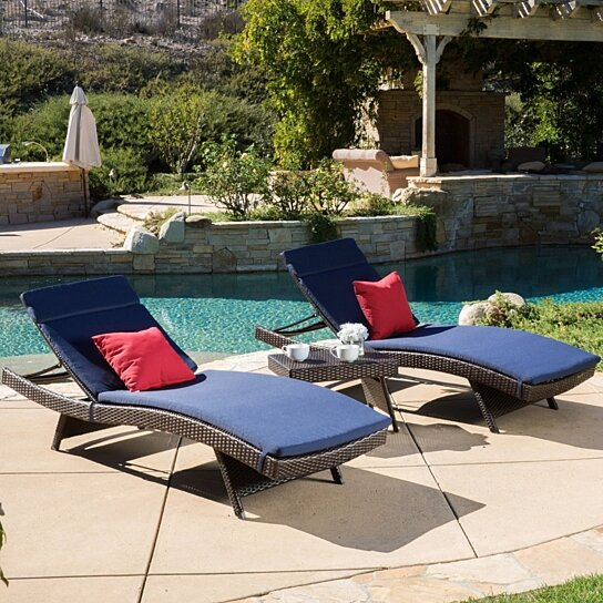 Buy lakeport outdoor 3 piece wicker adjustable chaise for Belmont 4 piece brown wicker patio chaise lounge set