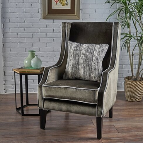 Edell Traditional New Velvet Two Toned High Winged Back Club Chair with Accent