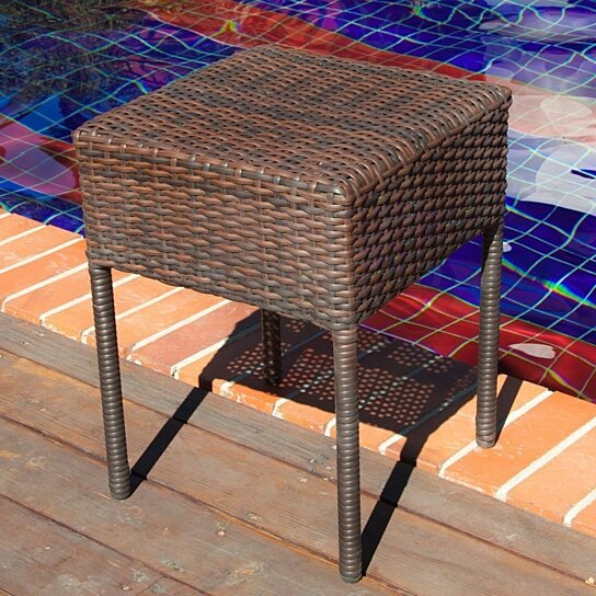 Buy edgar outdoor brown wicker side table by gdfstudio on for Great deals on outdoor furniture