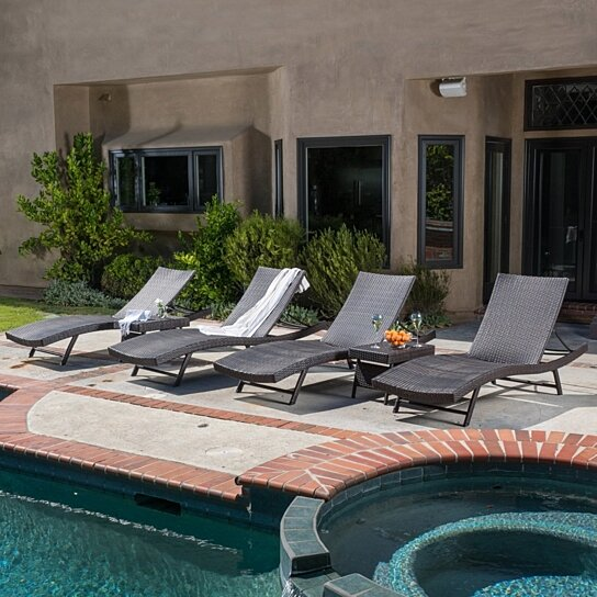 Buy Eliana Outdoor 6pc Brown Wicker Chaise Lounge Chairs Set By GDFStudio  On Dot U0026 Bo Part 94