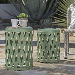 Ellen Nestable Outdoor Small and Large Iron Side Table Set (Set of 2)