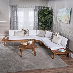 Ellison Indoor Minimalist V Shaped 4 Piece Sandblast Finished Acacia Wood Sectional Sofa Set with White Cushions