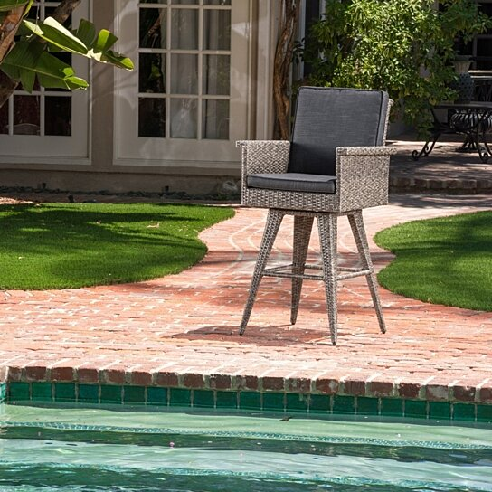 Elysium 30 Inch Outdoor Wicker Barstool With Water Resistant Cushions