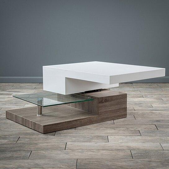 Buy Emerson Rectangular Mod Swivel Coffee Table W Glass