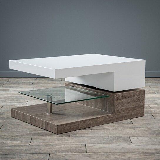 Buy Emerson Rectangular Mod Swivel Coffee Table W Glass By Gdfstudio On Dot Bo